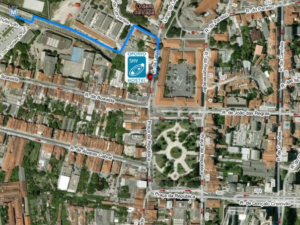 How to get to oportosky hostel from the Lapa metro station.